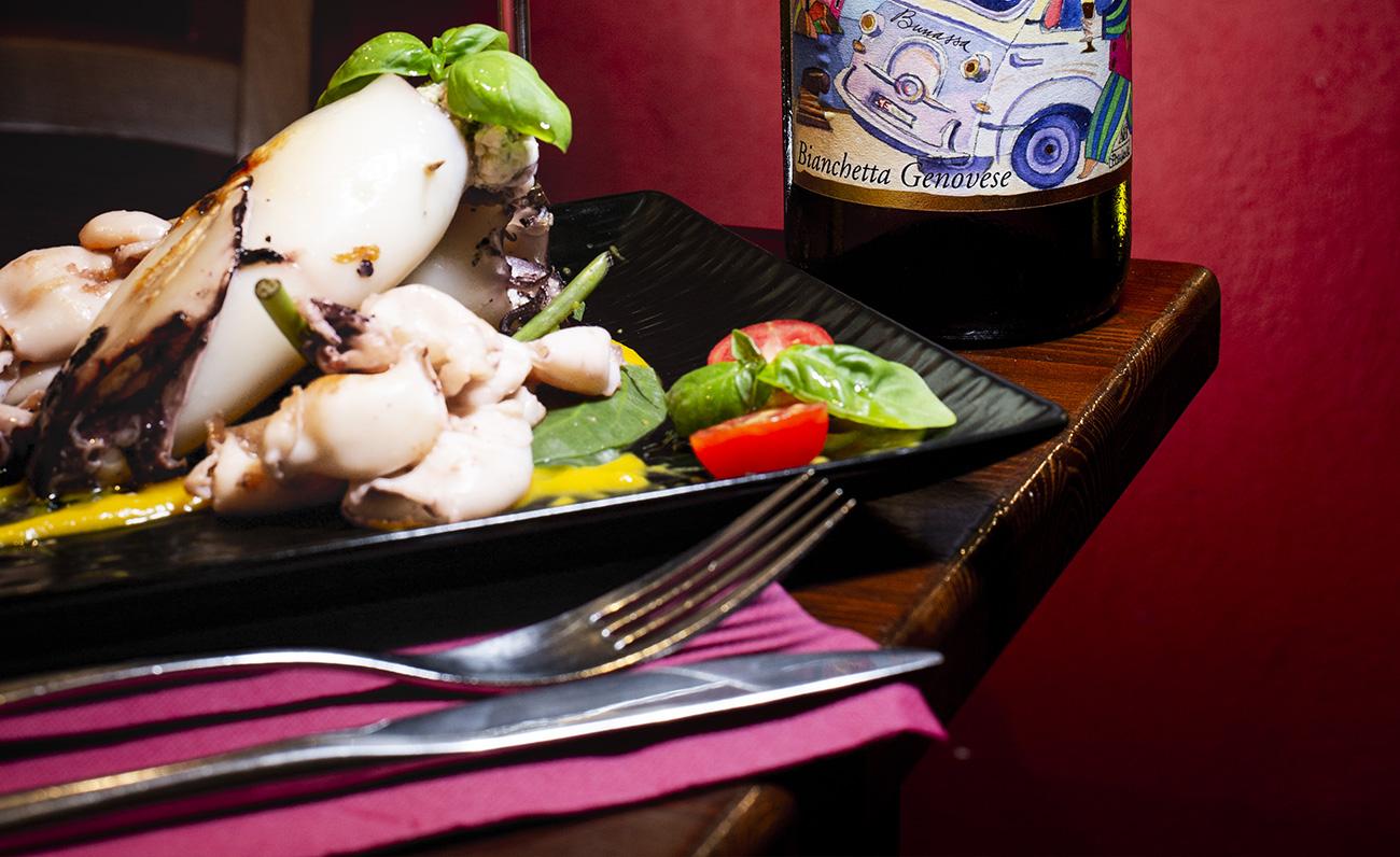 Calamari ripieni, chef de la Locanda Spinola, Bianchetta Genovese, racconto fotografico di Francesco Zoppi